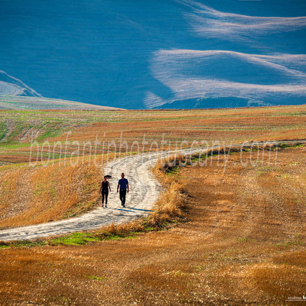 crete senesi landscape #88 country road with two hikers in mucigliani